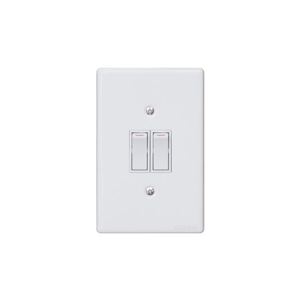 Classic Steel Series: 2 Lever Wall Switch White Steel